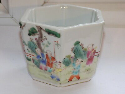 Antique Chinese Canton Porcelain Hexagonal Plant Pot Painted Chinese Children (2