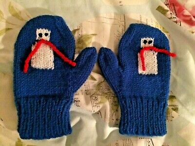 NEW hand knitted SNOWMAN mittens soft wool HAND MADE children's gloves