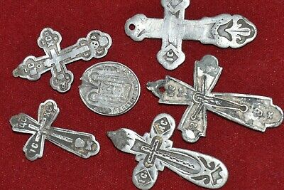 SET ANTIQUE 19th CENTURY IMPERIAL RUSSIAN SILVER 84 Orthodox Cross Icon Pendant