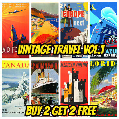 Vintage Travel Posters Prints Retro Art Tourism Holiday Decor Cities Home 2 Size