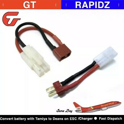 Tamiya Male to Deans Female Adapter Connector 14awg 150mm Long UK Stock.