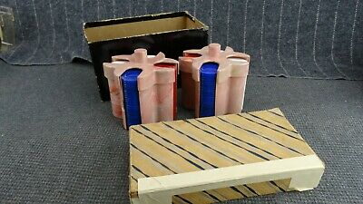 """Vtg Pair Pla-Wood Marbled Pink Plastic Poker Chip Caddy  For 1-3/8"""" Dia Chips"""