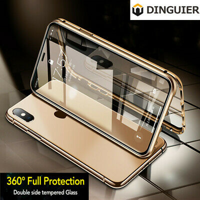 360° Magnetic Double-sided Glass Case Cover For iPhone 11 Pro Max XS XR 7 8 Plus