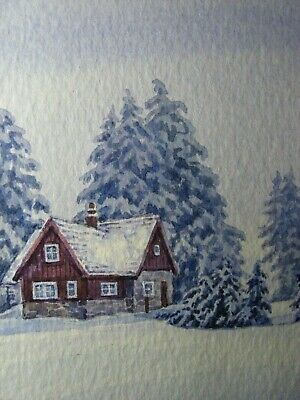 Watercolor Painting Winter Snow House Fir Tree Forest ACEO Art