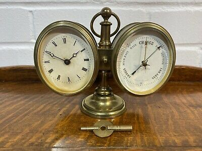 Early Victorian Brass Oval Desk Clock And Barometer
