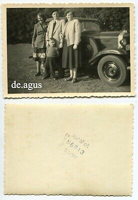 Vintage Photo circa 1950s People with little boy ,classic car