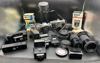 Huge Lot of Vintage Cameras, Lens, and Accessories