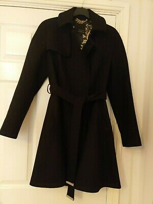 Ted Baker black wool with cashmere coat TB size 4 (14)
