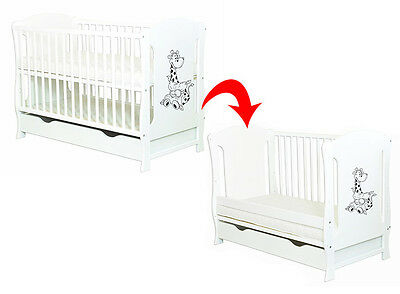 """Baby Cot With Drawer/Junior Bed """"Zuzia"""" White + Selection Of Mattress"""
