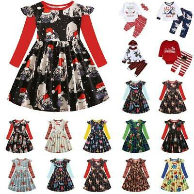 Christmas Xmas Swing Dress Toddler Baby Kids Girls Party Tops Pants Outfits Set