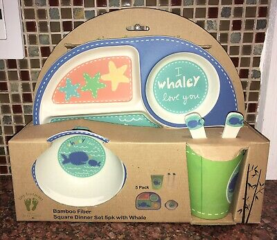 Bamboozle Tiny Footprints Infants/Kids Blue Whale Bamboo Dinnerware Set - New