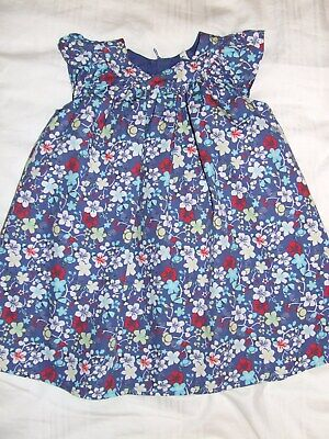 Girls M&S blue mix floral dress age 2-3 years Excellent condition
