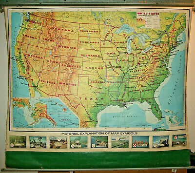 Vintage RAND MCNALLY USA Pull Down Map  X-Large 68x60 Mid-Century