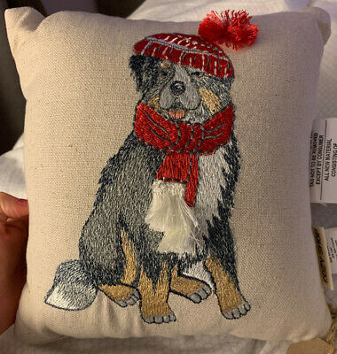 Cozy Shop Christmas Bernese Mountain Dog embroidered decorative pillow 11x11