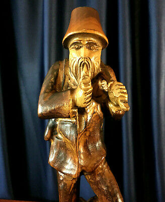 """Hand Carved Old Bearded Man Figure with Axe, Pipe, and Hunt Bag 13.5"""" tall"""