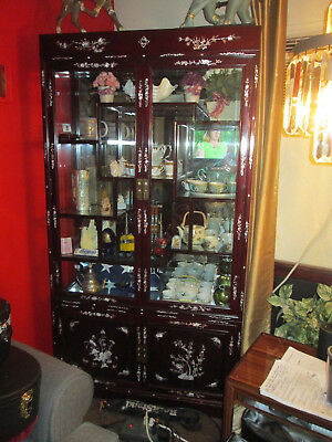 Chinese Rosewood & Pearl Inlay Curio Cabinet