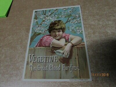 Antique Victorian Trade Card Vegetine The Great Blood Purifier Quack Medicine