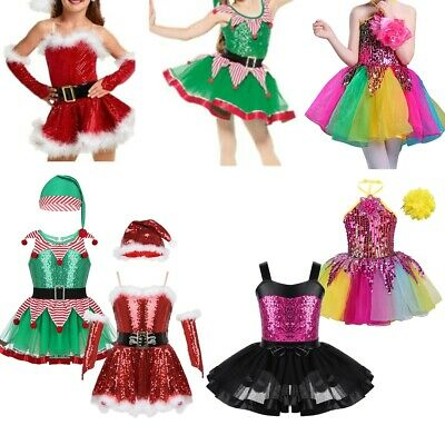 Girls Christmas Costume Party Fancy Dress Sparkkly Cosplay Outfit Dress Toddler