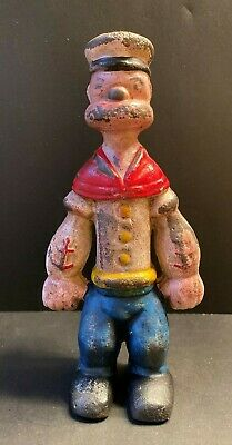 Cast Iron Hand Painted Popeye Bank Stands 8 1/2 Tall