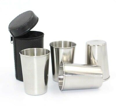 4 x 150ml Hip Flask Cup Set Stainless Steel PU Leather Liquor Alcohol Hip Shot