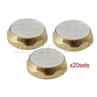 60 Pieces Golden Trumpet Finger Buttons Zinc Alloy w/ White Shell Inlays