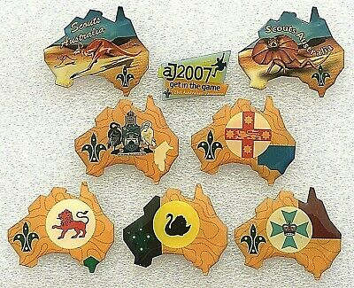 Scouts Australia 8 x Metal Badges: AJ2007 Kangaroo Lizard NSW WA Qld Tas ACT