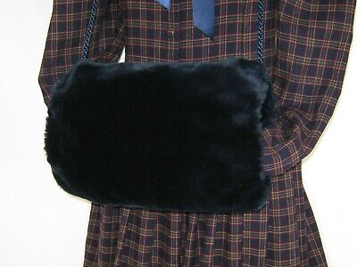 Laura Ashley Vintage Edwardian/Victorian Style Navy Faux Fur Padded Hand Muff