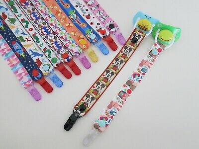 Girls Boys Grosgrain Ribbon Dummy Pacifier Clips, Lots Designs to Choose From
