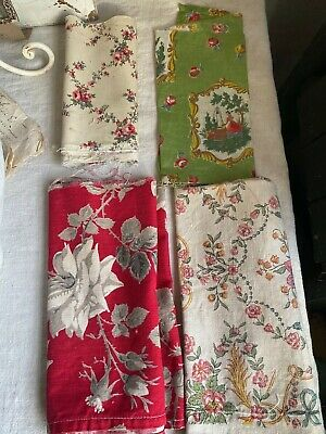 4pc Antique French Fabrics Red Floral Green Cameos Remnants /Furnishing projects