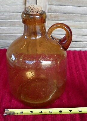 Large Antique Hand Blown Amber Glass Demi John Bottle With Applied Lip 10inch