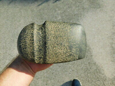 Authentic Native American Indian Grooved Stone Axe Head Artifact