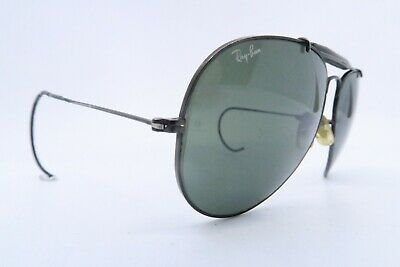 Vintage B&L Ray Ban aviator sunglasses black size 62-14 etched BL USA KILLER