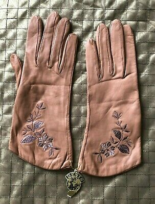 Vintage But Unused Mid-Brown Decorated Leather Gloves Dents *LOVELY XMAS GIFT*