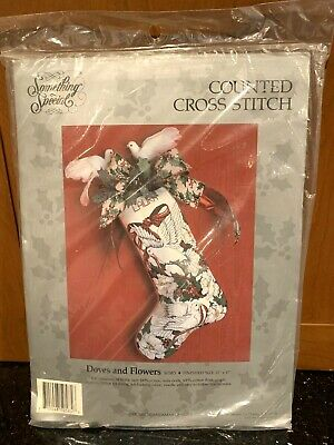 DOVES & FLOWERS Christmas Stocking Cross Stitch Kit 50585 new Candamar Designs