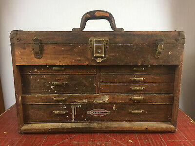 Vintage Antique Machinists Wood Oak Wooden Tool Box Toolbox Chest Distressed