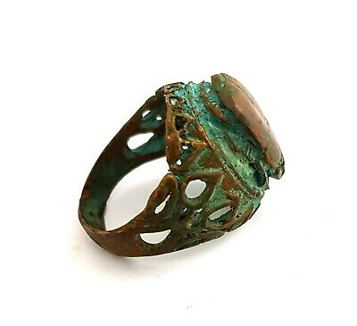 Royal Bronze Scarab Beetle Ring Ancient Egypt Jewelry Art Rare Faience Amulet