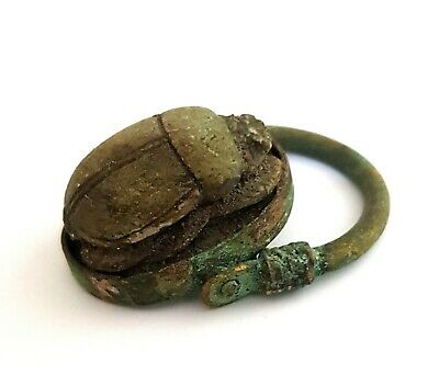 Hieroglyphic Faience Ring Egyptian Antique Scarab Beetle Amulet Ancient Royal