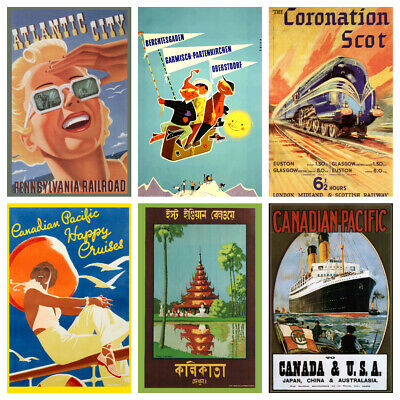 Vintage Travel Posters A3 Retro Prints Art Tourism Holiday Decor Cities Home