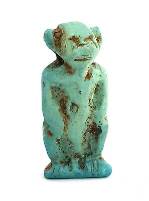 Baboon Charm Ancient Egypt Antiques Monkey Amulet Hieroglyphic Faience Necklace