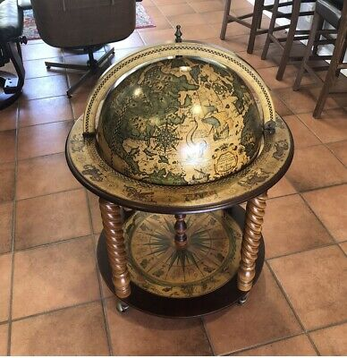 Vintage Portable Globe Zodiac Bar Cart