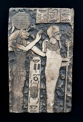 Egyptian Antique Plaque Relief Craft Osiris & Khnum God Plaque W/T Hieroglyphics