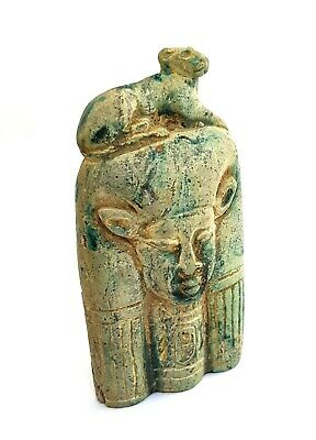 Hathor Ancient Egyptian Antiques Bust Topped W/T Sekhmet Goddess Sculpture BC