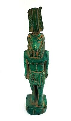 RARE Hieroglyphic Egyptian Antique Khnum God Figurine Ancient Faience Sculpture