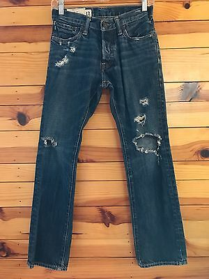 Abercrombie & Fitch Boys Remsen Low Rise Slim Straight Button-Fly Jeans 12