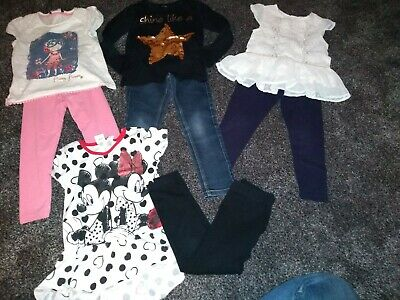 Girls Bundle Of 4 tops &4 leggings/jeans Age 4-5 Years excellent Condition