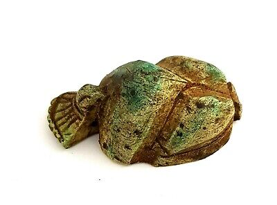 Very Rare Egyptian Ankh Antique Scarab Beetle Amulet Unique Hieroglyph Faience