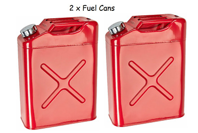 2 x 20L 5 Gallon Steel Fuel Gasoline Petrol Diesel Jerry Can Tank Container