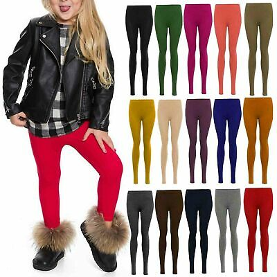 New Girls Kids Children Plain Cotton Full Length Leggings Party Pants Age 2 -13