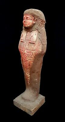 Egyptian Antiques Coffin Mummy Sculpture Egypt Faience Bead W/T Hieroglyphics