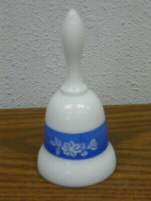 Vintage FENTON Hand Painted White Milk Glass Blue Band Floral Bell Artist Signed